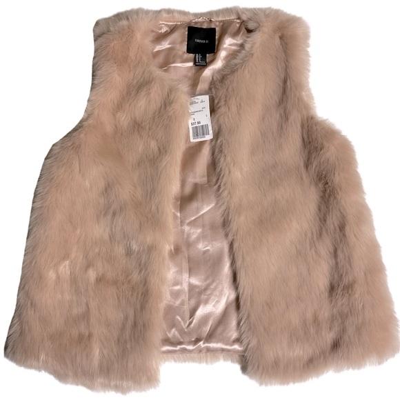 New! Forever 21 Faux Fur Pink Mauve Vest Size S